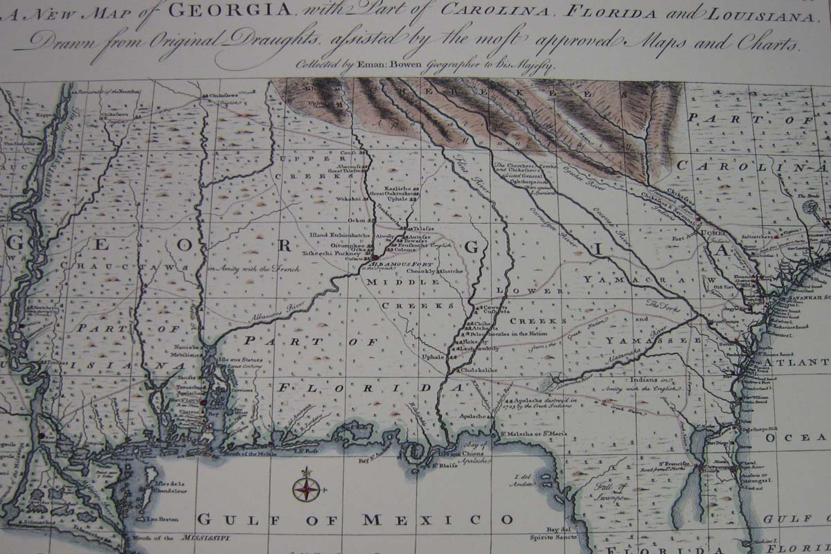 USA: Southern: Map: Georgia, the Gulf Coast, and the Lower Mississippi 1748. Emanuel Bowen