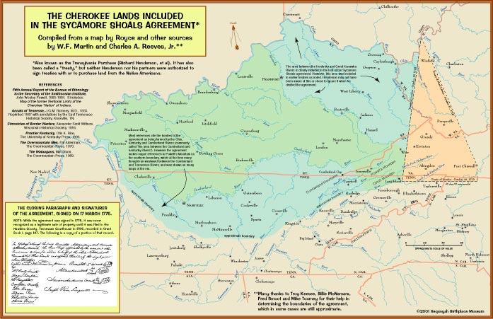 Cherokee Lands included in the Sycamore Shoals Agreement 1775