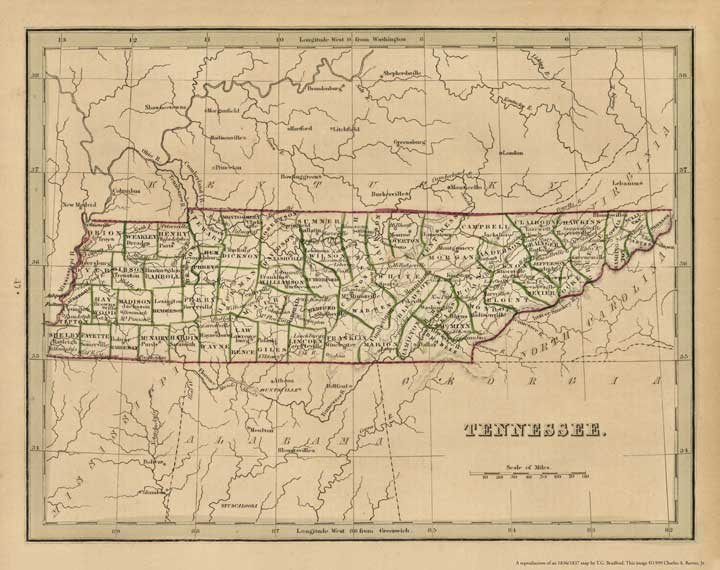 Tennessee, showing the counties as they were in 1837