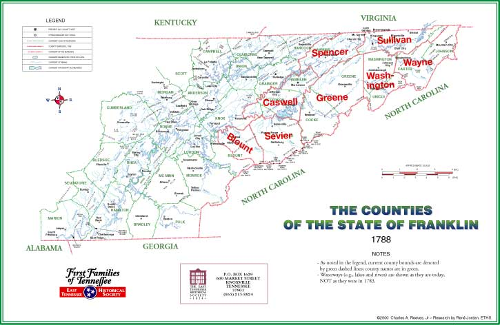 The Counties of the State of Franklin 1788