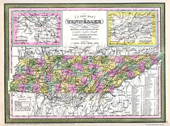 Tennessee Map of 1850