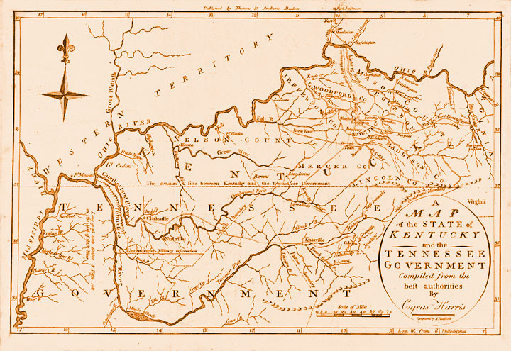 Tennessee and Kentucky Map 1796