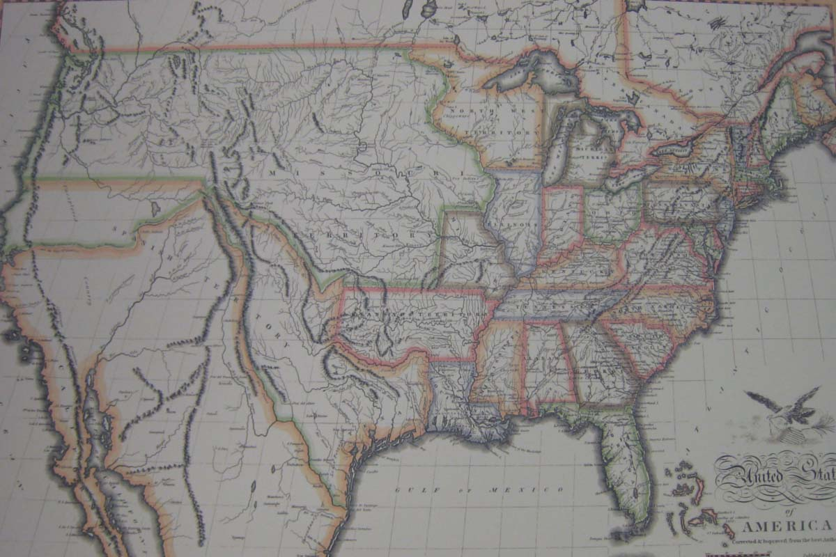 USA:  Map: The United States in 1820. John Melish (Corrected)