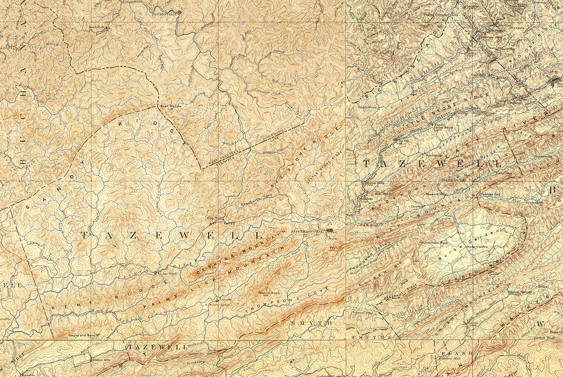 Tazewell County, Virginia Map 1890s