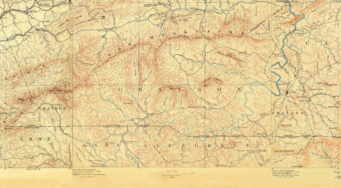 Grayson County, Virginia Map 1890s